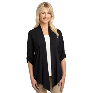L543 SHRUG CARDIGAN WITH BUTTON TAB ON SLEEVES